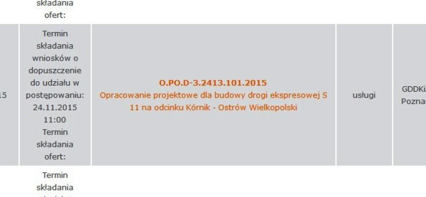 Do 22 listopada potrwa składanie ofert na ekspresówkę do Kórnika