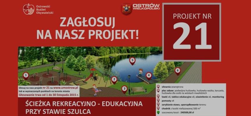 Ścieżka rekreacyjno – edukacyjna przy Stawie Szulca – głosowanie