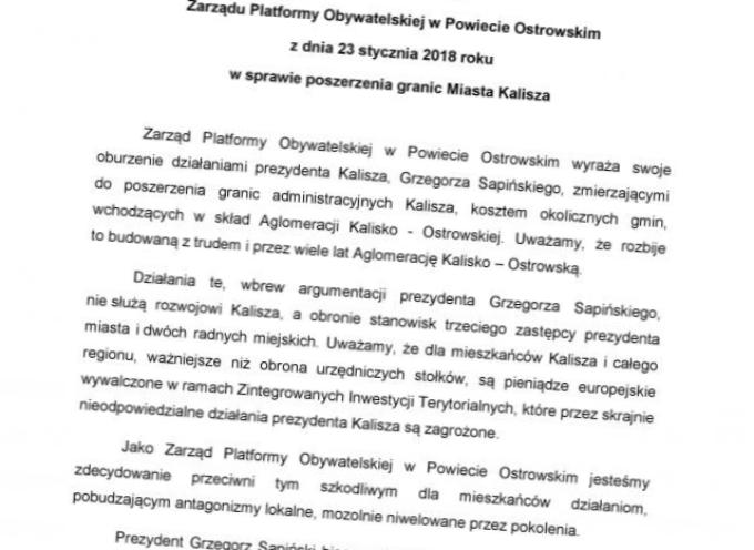 Ostrowska PO krytykuje prezydenta Kalisza i broni aglomeracji
