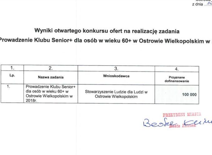 100 tysięcy złotych na Klub Seniora w Ostrowie