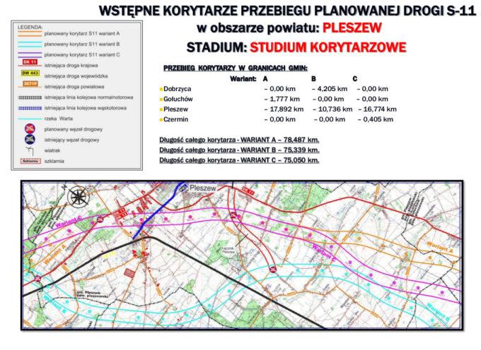 Warianty budowy DK 11 na północ od Ostrowa