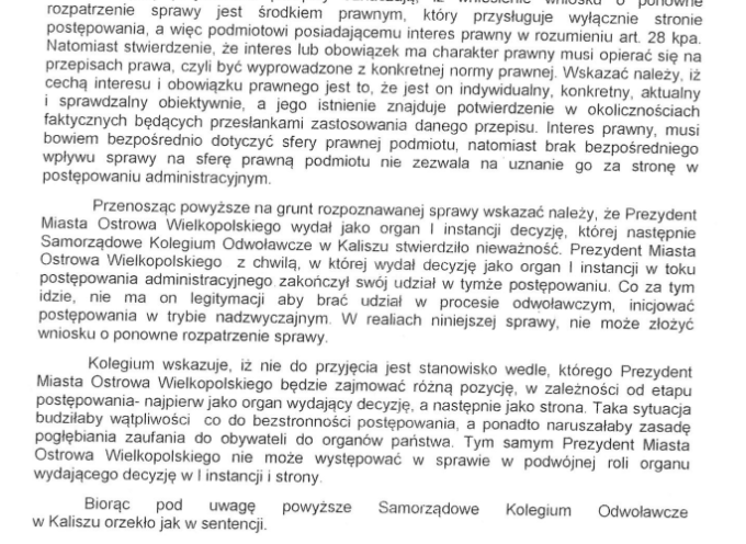 Podwójna porażka Prezydenta Ostrowa przed Samorządowym Kolegium Odwoławczym